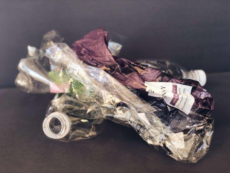 Pomačkané plasty vytriedené na recykláciu
